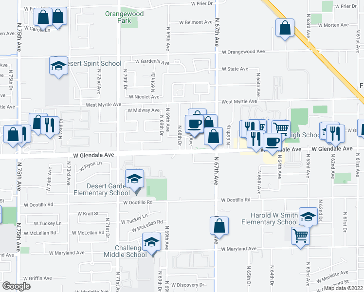 map of restaurants, bars, coffee shops, grocery stores, and more near 7006 N 68th Dr in Glendale
