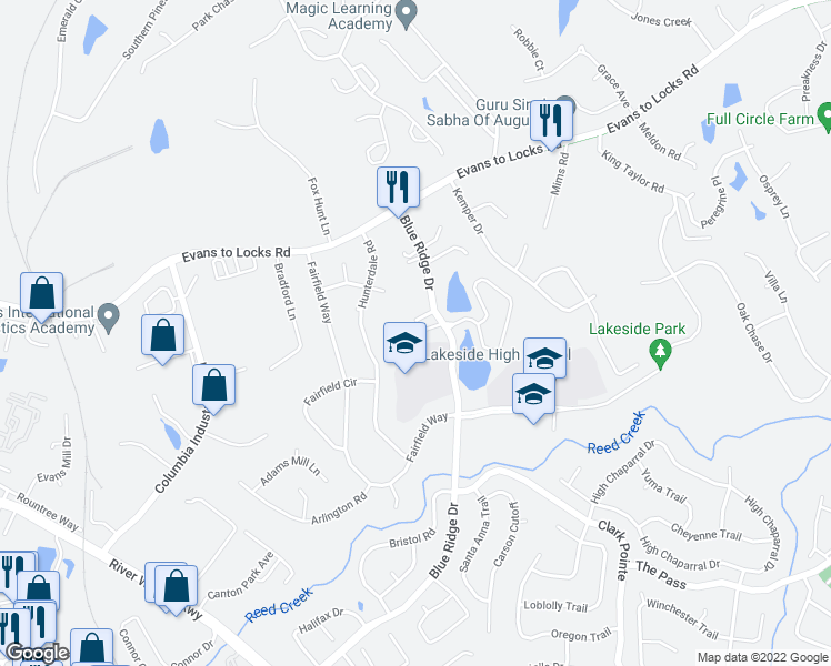 map of restaurants, bars, coffee shops, grocery stores, and more near Commons Dr in Evans