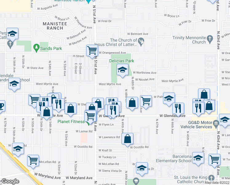 map of restaurants, bars, coffee shops, grocery stores, and more near 4911 West Myrtle Avenue in Glendale