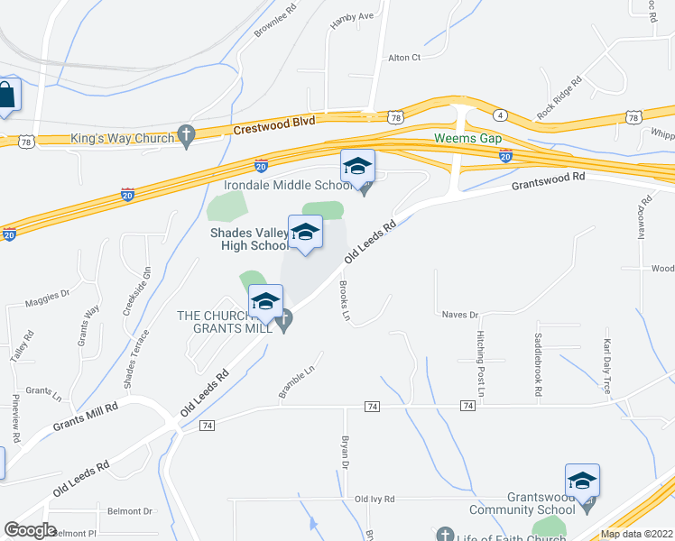 map of restaurants, bars, coffee shops, grocery stores, and more near 6088 Old Leeds Road in Irondale
