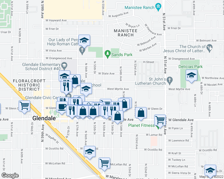 map of restaurants, bars, coffee shops, grocery stores, and more near 5427 W Myrtle Ave in Glendale