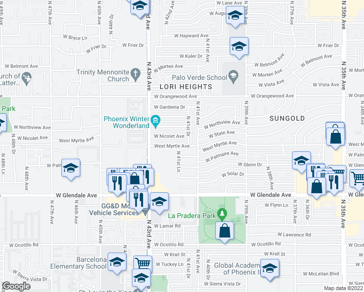 map of restaurants, bars, coffee shops, grocery stores, and more near 7126 N 41st Ln in Phoenix