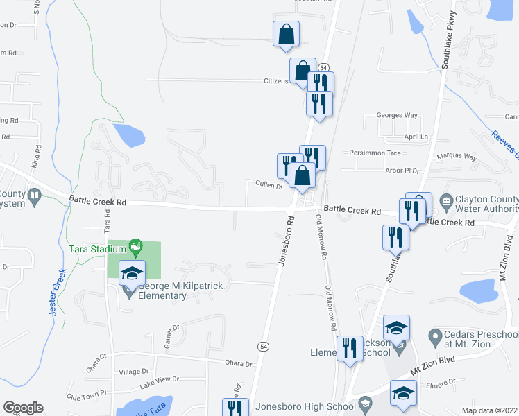 map of restaurants, bars, coffee shops, grocery stores, and more near 1048-1070 Battlecreek Road in Jonesboro