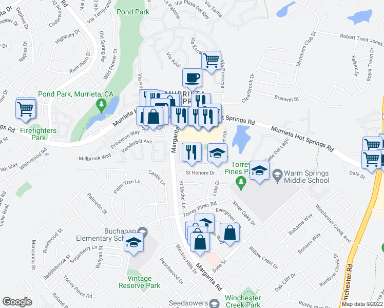 map of restaurants, bars, coffee shops, grocery stores, and more near 26175-26299 Douglass Union Lane in Murrieta
