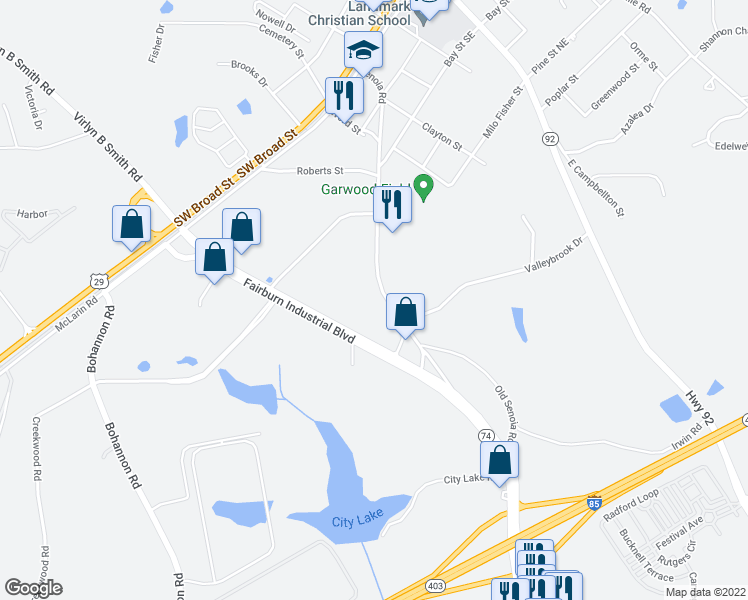 map of restaurants, bars, coffee shops, grocery stores, and more near 303 Senoia Rd in Fairburn