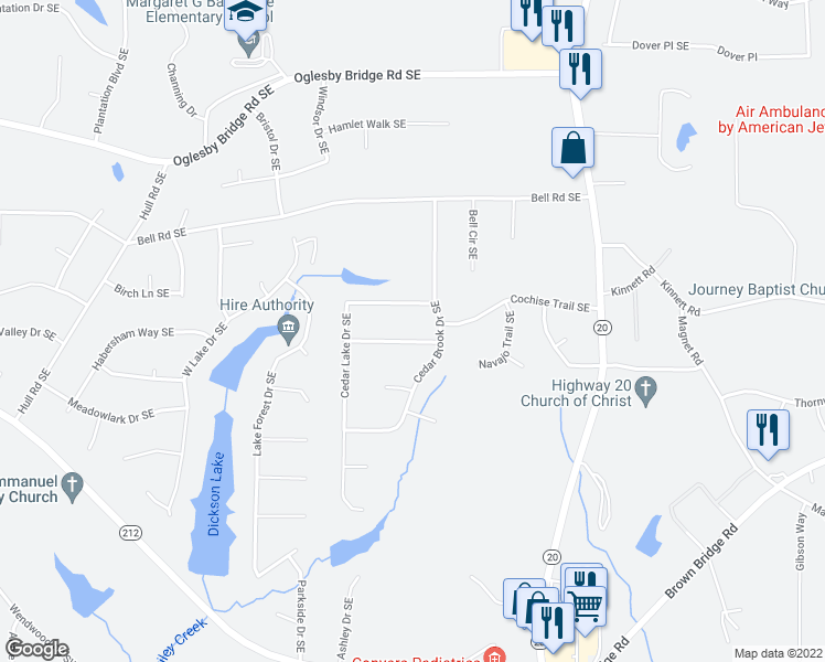 map of restaurants, bars, coffee shops, grocery stores, and more near 808 Shannon Trail in Conyers