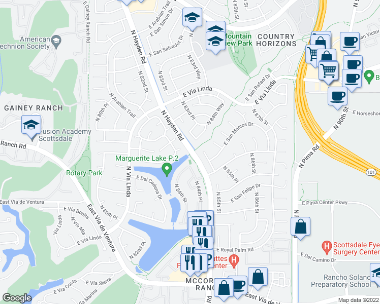 map of restaurants, bars, coffee shops, grocery stores, and more near 8774 North Hayden Road in Scottsdale
