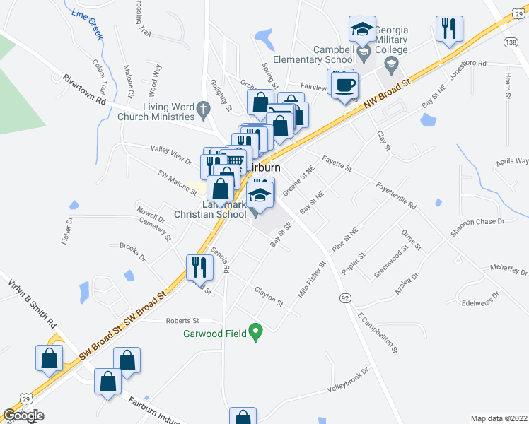 map of restaurants, bars, coffee shops, grocery stores, and more near 7-89 East Campbellton Street in Fairburn