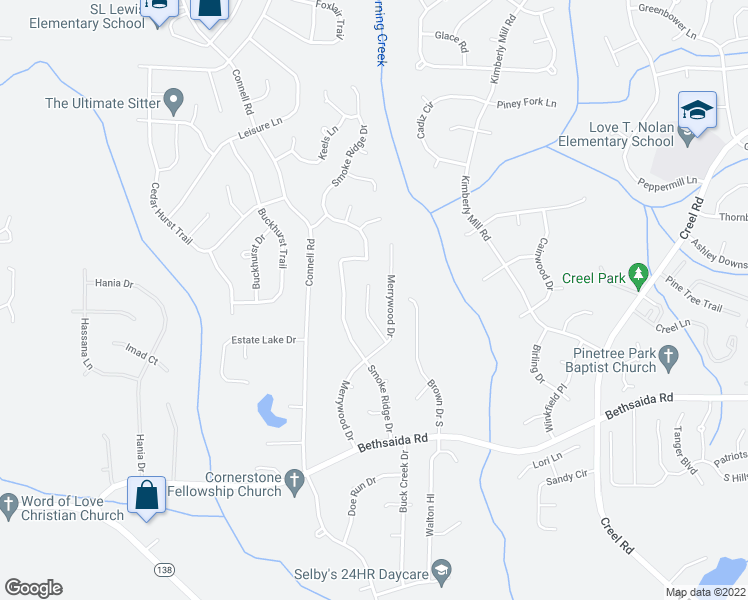map of restaurants, bars, coffee shops, grocery stores, and more near 7079 Merrywood Way in Fairburn