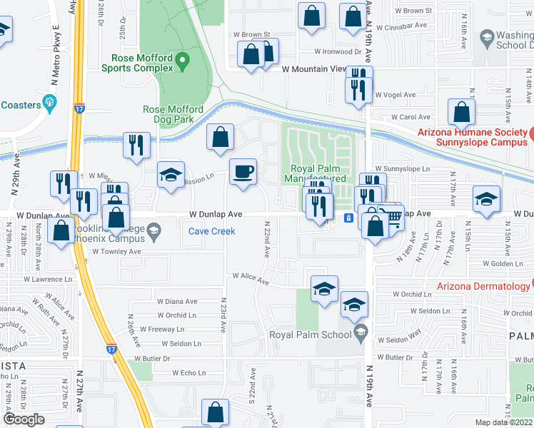 map of restaurants, bars, coffee shops, grocery stores, and more near W Dunlap Ave & N 22nd Ave in Phoenix