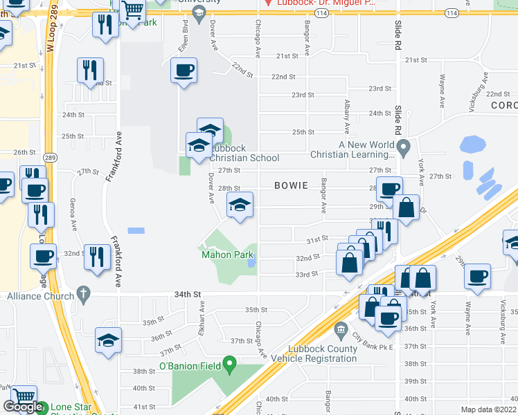 map of restaurants, bars, coffee shops, grocery stores, and more near 2801-2899 Chicago Avenue in Lubbock