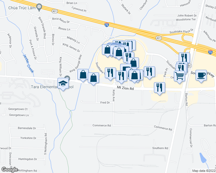 map of restaurants, bars, coffee shops, grocery stores, and more near 1115 Mt Zion Rd in Morrow