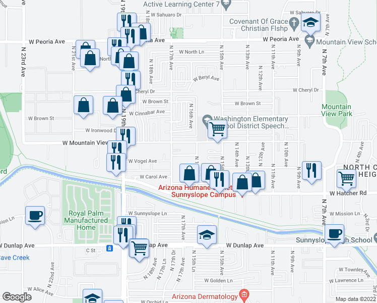 map of restaurants, bars, coffee shops, grocery stores, and more near 1614 W Purdue Ave in Phoenix