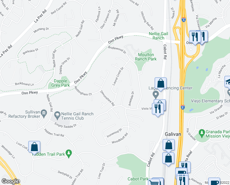 map of restaurants, bars, coffee shops, grocery stores, and more near 25721 Patterson Pl in Laguna Hills