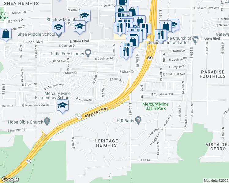 map of restaurants, bars, coffee shops, grocery stores, and more near 10001 North 30th Place in Phoenix