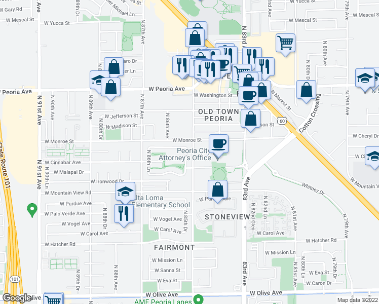 map of restaurants, bars, coffee shops, grocery stores, and more near 10065 N 85th Dr in Peoria