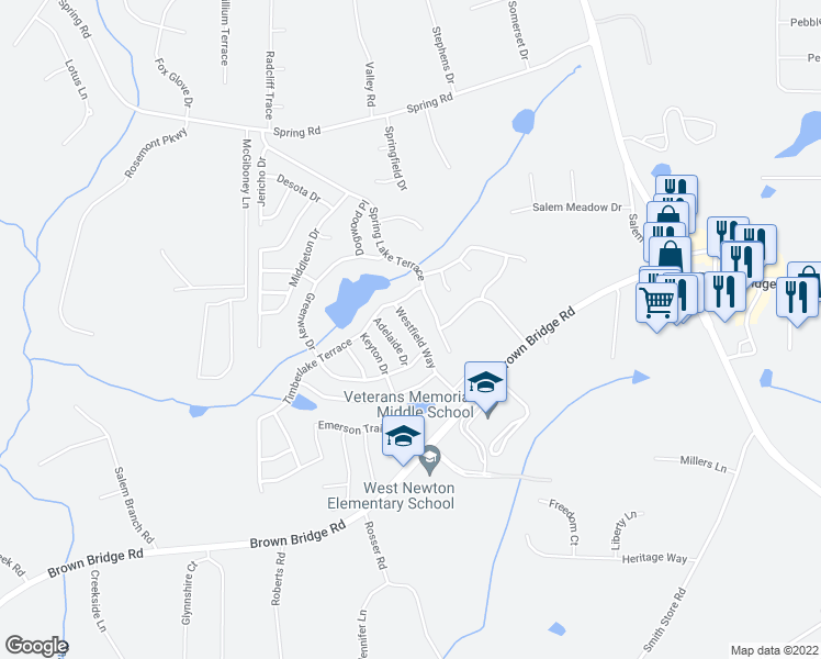 map of restaurants, bars, coffee shops, grocery stores, and more near Westfield Way in Covington