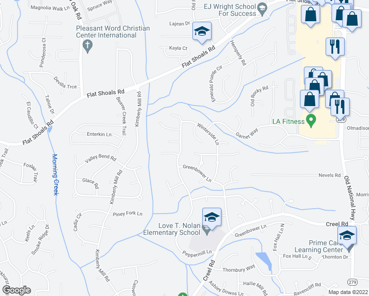 map of restaurants, bars, coffee shops, grocery stores, and more near 6450 Peppermill Ln in Atlanta