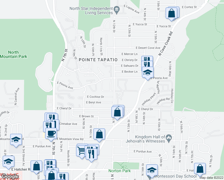 map of restaurants, bars, coffee shops, grocery stores, and more near 10407 North 11th Place in Phoenix