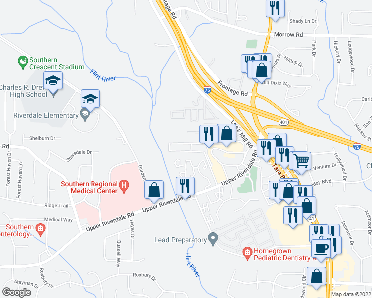 map of restaurants, bars, coffee shops, grocery stores, and more near 275 Upper Riverdale Road in Jonesboro