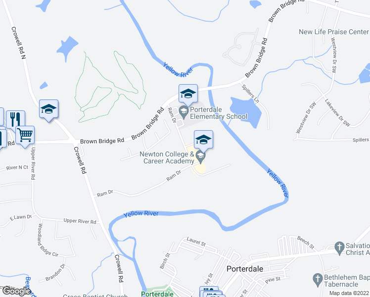 map of restaurants, bars, coffee shops, grocery stores, and more near 180 Ram Drive in Covington