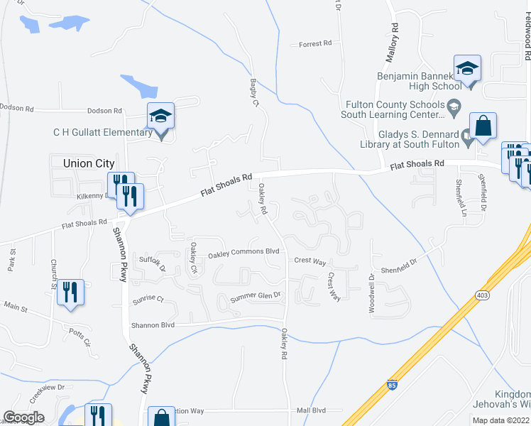 map of restaurants, bars, coffee shops, grocery stores, and more near Rivers Drive in Union City