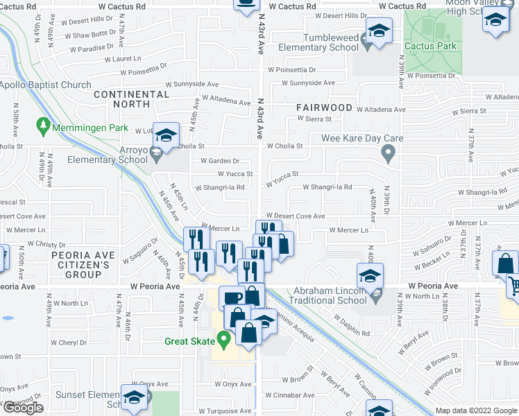 map of restaurants, bars, coffee shops, grocery stores, and more near N 43rd Ave in Phoenix