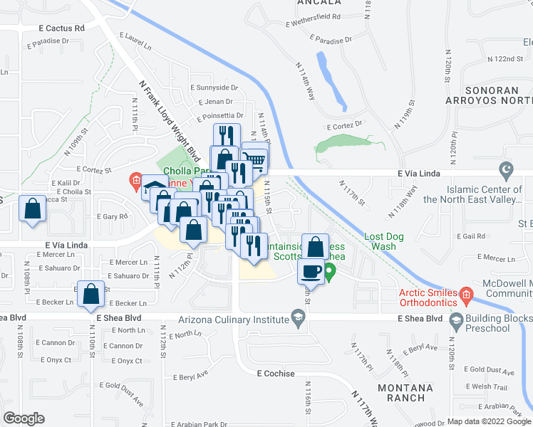 map of restaurants, bars, coffee shops, grocery stores, and more near 11105 North 115th Street in Scottsdale