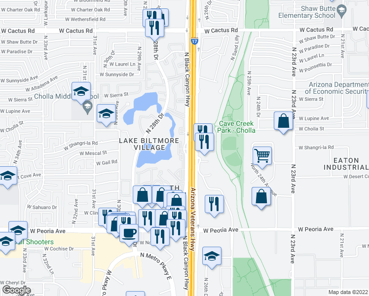 map of restaurants, bars, coffee shops, grocery stores, and more near 10995-11327 N Biltmore Dr in Phoenix