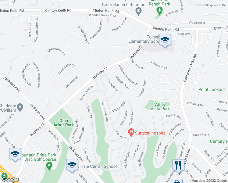 map of restaurants, bars, coffee shops, grocery stores, and more near 40226 Vía Ambiente in Murrieta