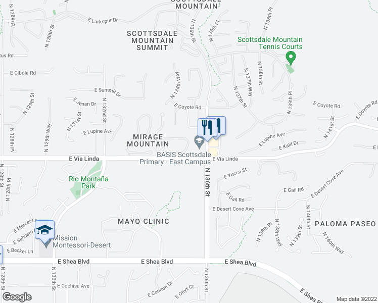 map of restaurants, bars, coffee shops, grocery stores, and more near 13450 East Vía Linda in Scottsdale