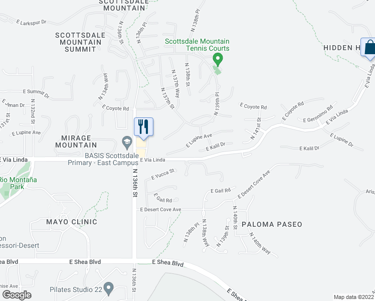 map of restaurants, bars, coffee shops, grocery stores, and more near 13793 East Lupine Avenue in Scottsdale