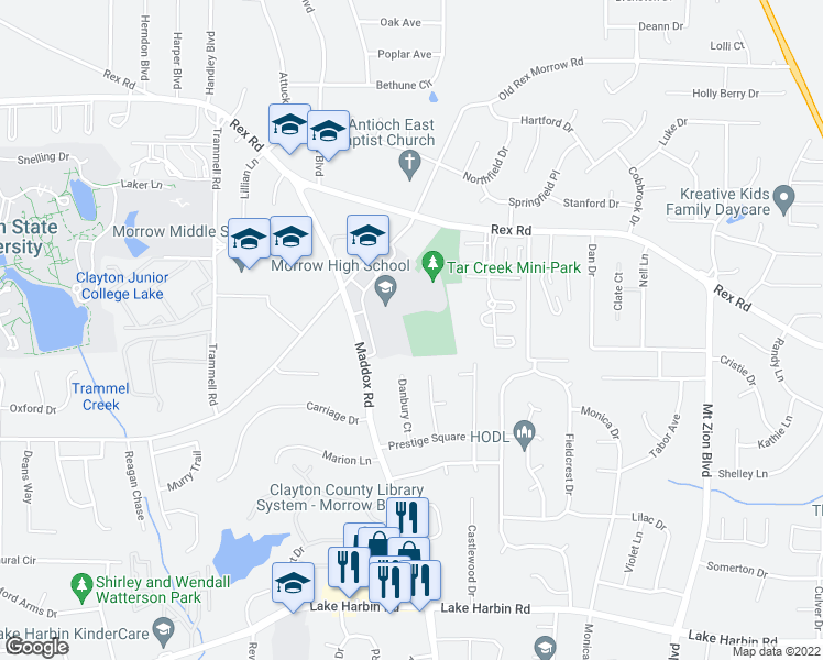 map of restaurants, bars, coffee shops, grocery stores, and more near 5968 Maddox Road in Morrow