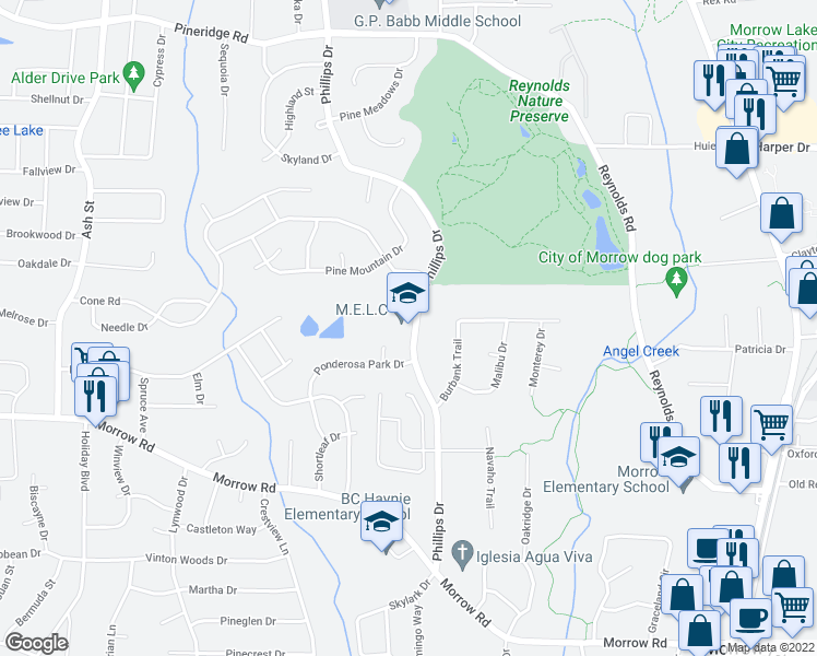 map of restaurants, bars, coffee shops, grocery stores, and more near 5829-5847 Phillips Drive in Forest Park