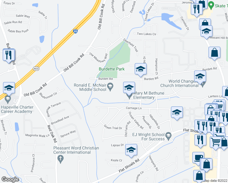 map of restaurants, bars, coffee shops, grocery stores, and more near 2800 Burdett Rd in Atlanta