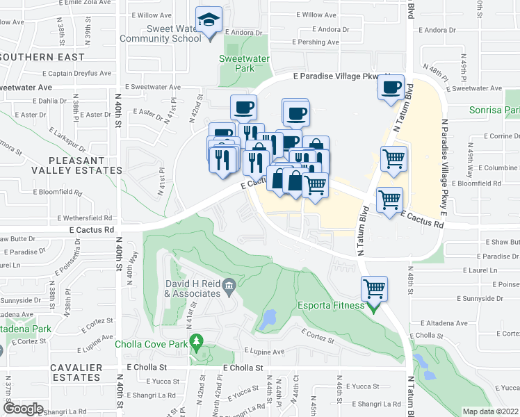map of restaurants, bars, coffee shops, grocery stores, and more near 12321-12399 N Paradise Village Pkwy W in Phoenix