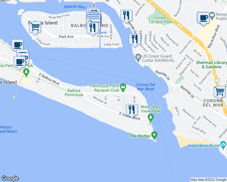 map of restaurants, bars, coffee shops, grocery stores, and more near 503 K St in Newport Beach