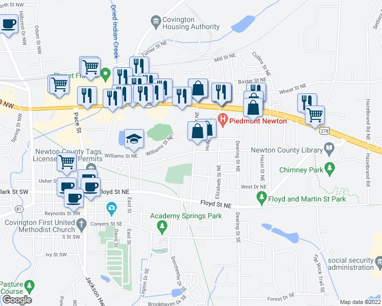 map of restaurants, bars, coffee shops, grocery stores, and more near 4114 Mill Street Northeast in Covington