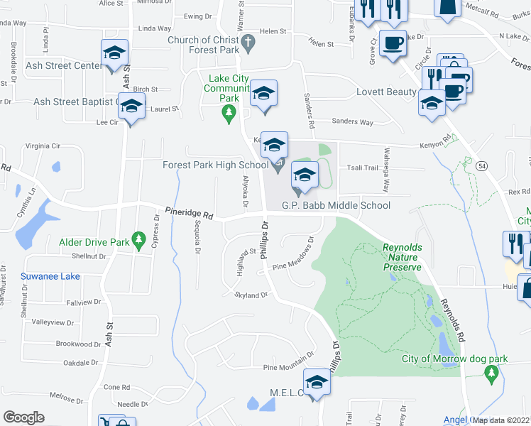 map of restaurants, bars, coffee shops, grocery stores, and more near 5553 Phillips Dr in Forest Park