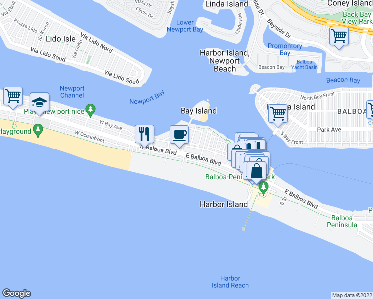 map of restaurants, bars, coffee shops, grocery stores, and more near 110 E Balboa Blvd in Newport Beach