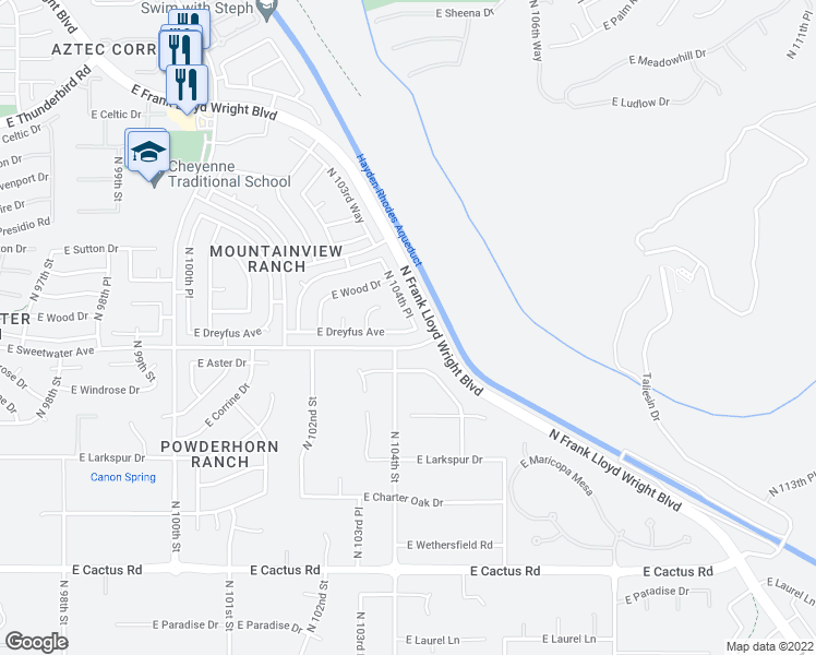 map of restaurants, bars, coffee shops, grocery stores, and more near 10490 East Dreyfus Avenue in Scottsdale