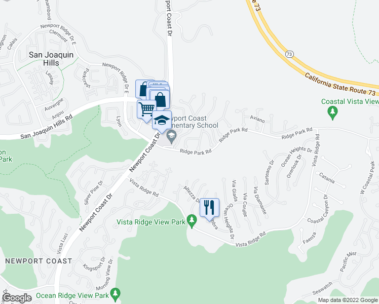 map of restaurants, bars, coffee shops, grocery stores, and more near 6700 Ridge Park Road in Newport Beach