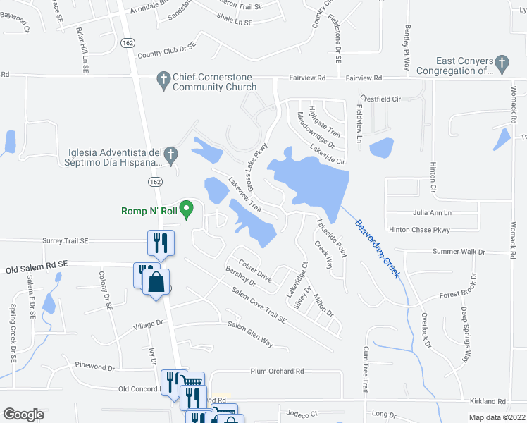 map of restaurants, bars, coffee shops, grocery stores, and more near 215 Lakeview Trail in Covington