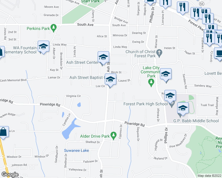 map of restaurants, bars, coffee shops, grocery stores, and more near 5403 Alder Dr in Forest Park