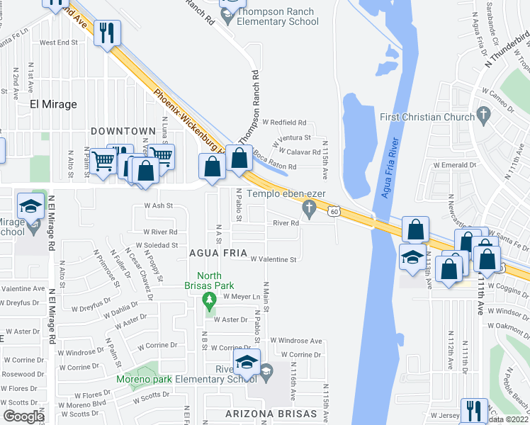 map of restaurants, bars, coffee shops, grocery stores, and more near 11711 River Rd in El Mirage
