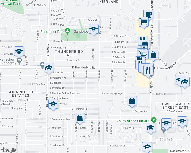 map of restaurants, bars, coffee shops, grocery stores, and more near 6740 East Voltaire Avenue in Scottsdale
