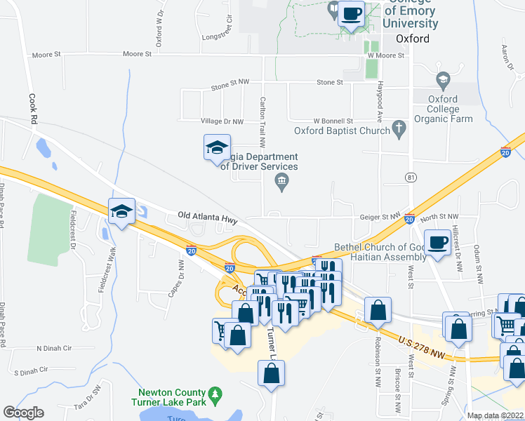 map of restaurants, bars, coffee shops, grocery stores, and more near 8131 Carlton Trail Northwest in Covington