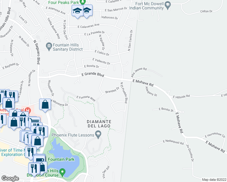 map of restaurants, bars, coffee shops, grocery stores, and more near 17417 Brantley Dr in Fountain Hills