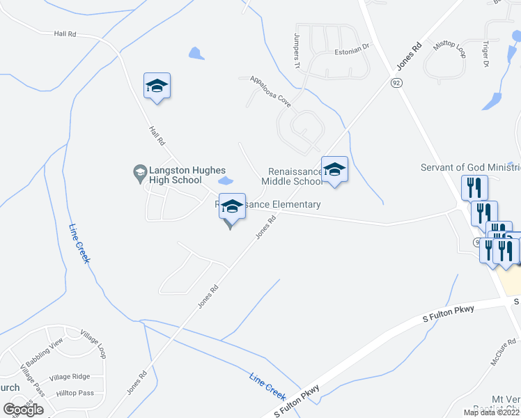 map of restaurants, bars, coffee shops, grocery stores, and more near 7500-7510 Hall Road in Fairburn
