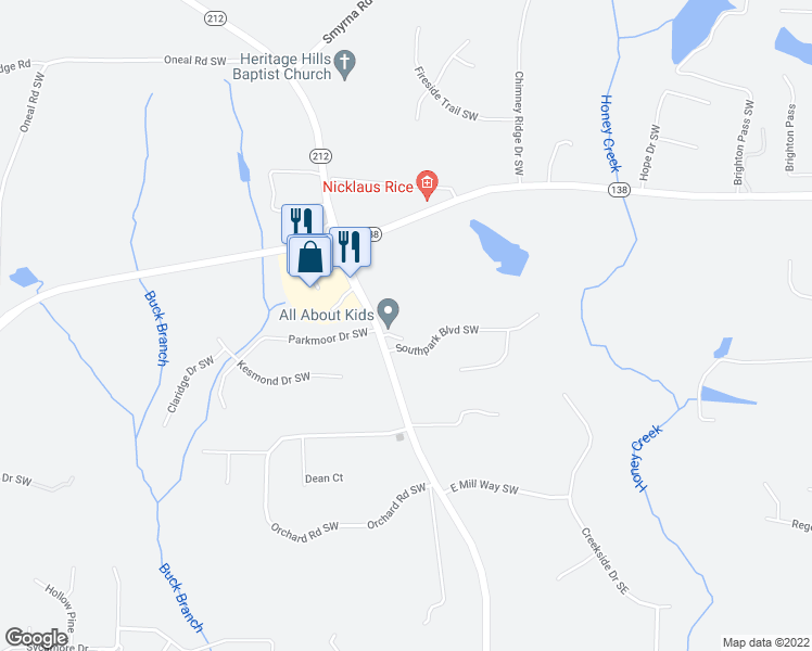 map of restaurants, bars, coffee shops, grocery stores, and more near 2815 Highway 212 Southwest in Conyers